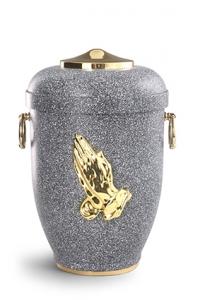Urnen online Shop Auswahl: Naturstoffurne basalt, Fuß, Griffe, Haube, bet.Hände MS poliert