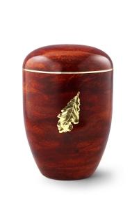 Urnen online Shop Auswahl: Naturstoffurne, Oberfläche Rosenholz, mit Messingemblem Eichenblatt