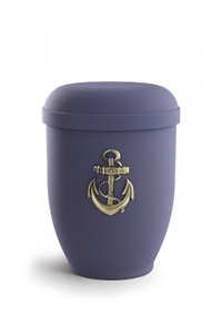 Urnen online Shop Auswahl: Naturstoffurne Samtton blau, Motiv Anker