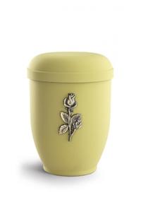 Urnen online Shop Auswahl: Naturstoffurne Samton gelb, Motiv Stielröschen