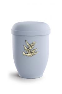 Urnen online Shop Auswahl: Naturstoffurne Samton grau, Motiv Vogelzug