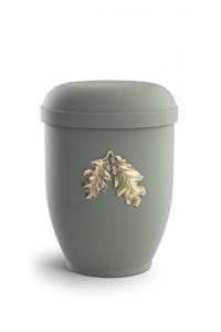 Urnen online Shop Auswahl: Naturstoffurne Samton oliv, Motiv Eichenblätter
