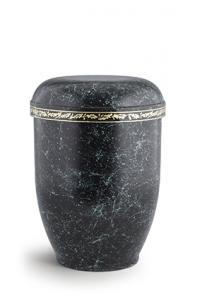 Urnen online Shop Auswahl: Naturstoffurne spritzpatiniert, mit Eichenlaub-Dekor