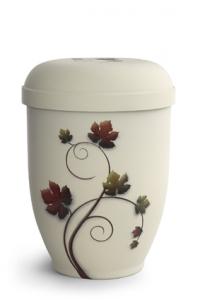 Urnen online Shop Auswahl: Naturstoffurne Crémefarbene Oberfläche, Motiv Weinlaub