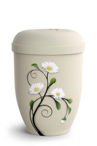 Urnen online Shop Auswahl: Naturstoffurne Crémefarbene Oberfläche, Motiv Margerite