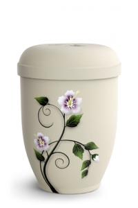 Urnen online Shop Auswahl: Naturstoffurne Crémefarbene Oberfläche, Motiv Hibiskus
