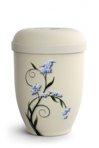 Urnen online Shop Auswahl: Naturstoffurne Crémefarbene Oberfläche, Motiv Vergissmeinnicht