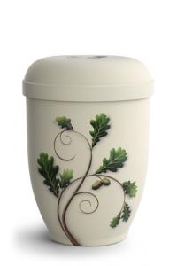 Urnen online Shop Auswahl: Naturstoffurne Crémefarbene Oberfläche, Motiv Eichenlaub