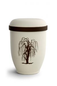 Urnen online Shop Auswahl: Naturstoffurne Crémefarbene Oberfläche, Motiv Trauerweide