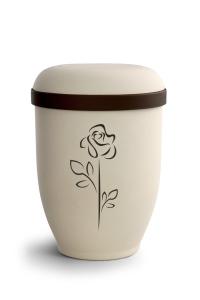 Urnen online Shop Auswahl: Naturstoffurne Crémefarbene Oberfläche, Motiv Rose