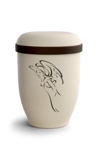 Urnen online Shop Auswahl: Naturstoffurne Crémefarbene Oberfläche, Motiv Engel