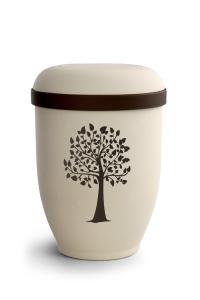 Urnen online Shop Auswahl: Naturstoffurne Crémefarbene Oberfläche, Motiv Baum