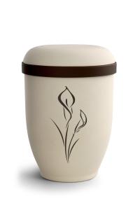 Urnen online Shop Auswahl: Naturstoffurne Crémefarbene Oberfläche, Motiv Calla