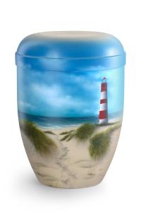 Urnen online Shop Auswahl: Naturstoffurne Airbrush-Motiv Inselstrand mit Leuchtturm