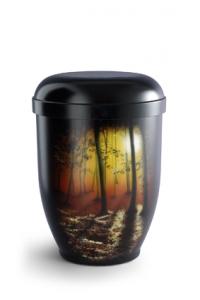 Urnen online Shop Auswahl: Naturstoffurne Airbrush-Motiv Herbstwald im Abendschein