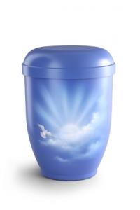 Urnen online Shop Auswahl: Naturstoffurne Airbrush-Motiv Wolkenhimmel