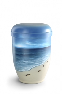 Urnen online Shop Auswahl: Naturstoffurne Airbrush-Motiv Spuren im Sand