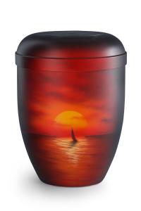 Urnen online Shop Auswahl: Naturstoffurne Airbrush-Motiv Abendsonne