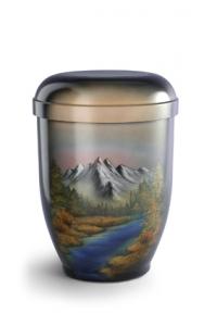 Urnen online Shop Auswahl: Naturstoffurne Airbrush-Motiv Berge mit Flusslauf