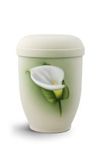 Urnen online Shop Auswahl: Naturstoffurne Airbrush-Motiv Calla