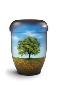 Urnen online Shop Auswahl: Naturstoffurne Airbrush-Motiv Baum im Mohnfeld