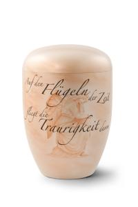 Urnen online Shop Auswahl: Naturstoffurne, Oberfläche perlmutt, Gedenktext, Airbrush-Motiv Engel