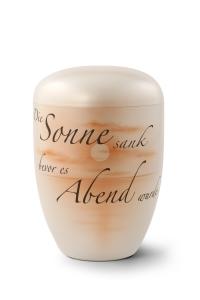 Urnen online Shop Auswahl: Naturstoffurne, Oberfläche perlmutt, Gedenktext, Airbrush-Motiv Abendsonne