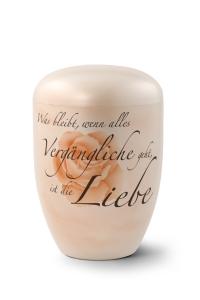 Urnen online Shop Auswahl: Naturstoffurne, Oberfläche perlmutt, Gedenktext, Airbrush-Motiv Rose