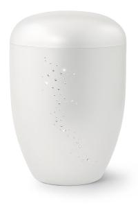 Urnen online Shop Auswahl: Naturstoffurne, Oberfläche perlmutt, mit Swarowski-Steinen besetzt