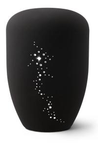 Urnen online Shop Auswahl: Naturstoffurne, Oberfläche Samtton tiefschwarz , mit Swarowski-Steinen besetzt