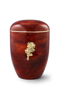 Urnen online Shop Auswahl: Naturstoffurne, Oberfläche Rosenholz, mit Messingemblem Rose