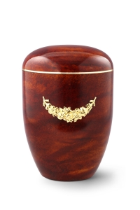 Urnen online Shop Auswahl: Naturstoffurne, Oberfläche Rosenholz, mit Messingemblem Girlande