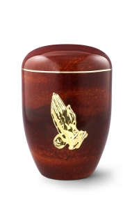 Urnen online Shop Auswahl: Naturstoffurne, Oberfläche Rosenholz, mit Messingemblem bet. Hände