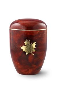 Urnen online Shop Auswahl: Naturstoffurne, Oberfläche Rosenholz, mit Messingemblem Ahornblatt