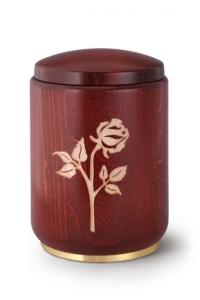 Bucheurne mahagonifarbig, mit Gravur Rose