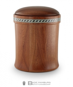 Urne aus Holz: Mahagoni gedrechselt, tailliert, Intarsien - Fries