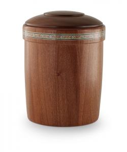Urne aus Holz: Mahagoni gedrechselt, Intarsien - Fries