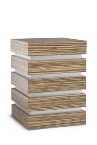 Holzwerkstoffurne Oberfläche Zebrano, gebürstetes Silberdekor
