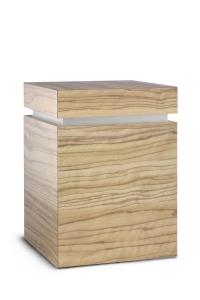 Holzwerkstoffurne Oberfläche Olive Sevilla, gebürstetes Silberdekor
