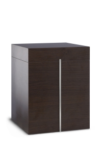 Holzwerkstoffurne Oberfläche Wenge, silberne Lisene