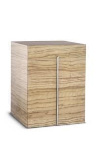 Holzwerkstoffurne Oberfläche Olive Sevilla, silberne Lisene
