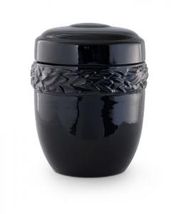 Keramikurne Glasur glänzend schwarz, Lorbeerdekor