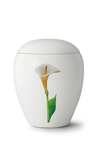 Keramikurne seidenmatt weiß glasiert Motiv Calla