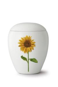 Keramikurne seidenmatt weiß glasiert Motiv Sonnenblume