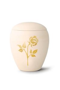 Keramikurne handgemaltes Goldmotiv Rose
