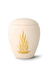 Keramikurne handgemaltes Goldmotiv Flamme