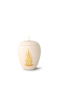 mit Gedenklicht, handgemaltes Goldmotiv Flamme