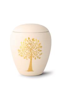Keramikurne handgemaltes Goldmotiv Baum