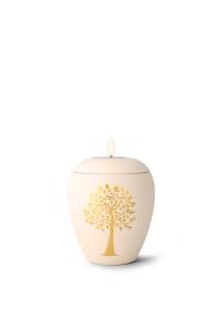 mit Gedenklicht, handgemaltes Goldmotiv Baum