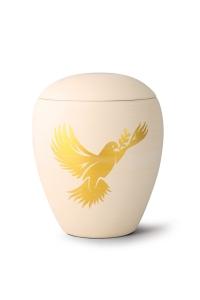 Keramikurne handgemaltes Goldmotiv Taube